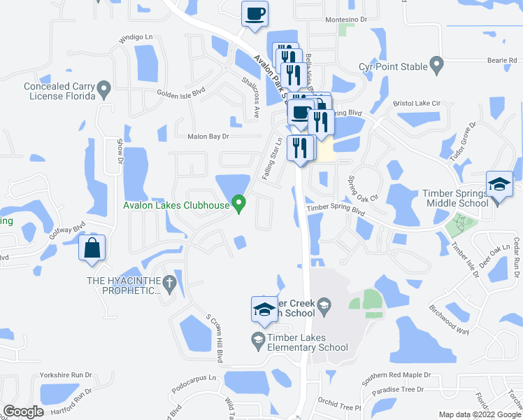 map of restaurants, bars, coffee shops, grocery stores, and more near 14266 Sapphire Bay Cir in Orlando