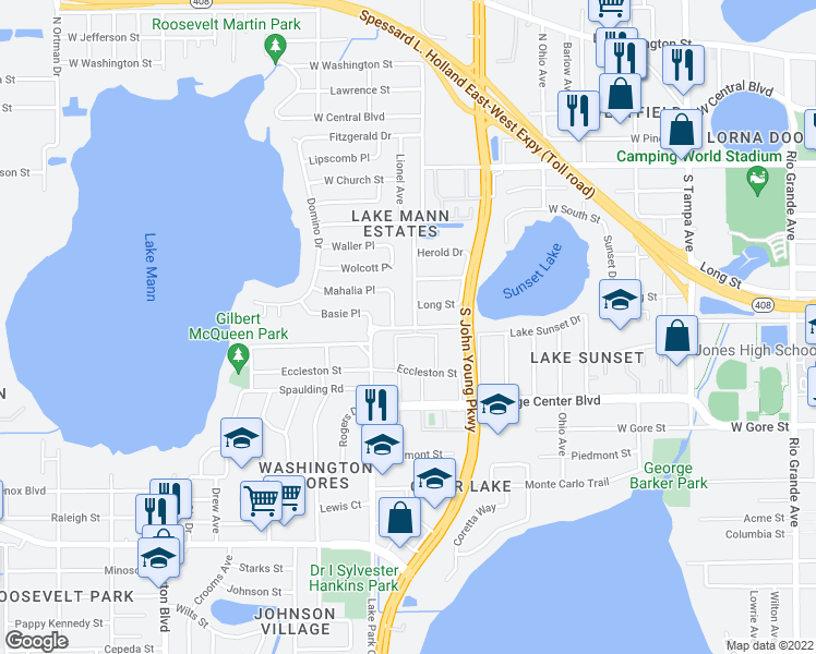 map of restaurants, bars, coffee shops, grocery stores, and more near 3128-3132 C.R. Smith Street in Orlando
