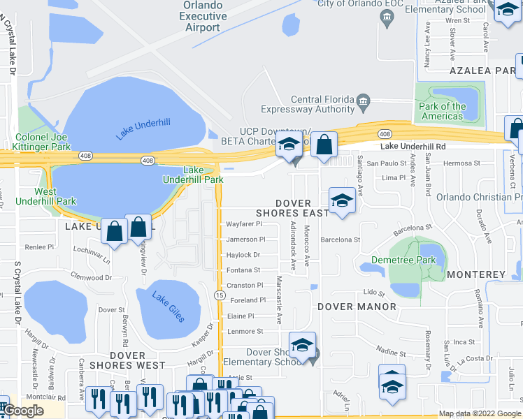map of restaurants, bars, coffee shops, grocery stores, and more near 4613 Rockledge Road in Orlando