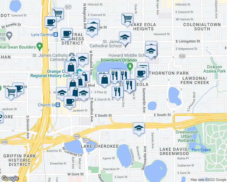 map of restaurants, bars, coffee shops, grocery stores, and more near 301 East Pine Street in Orlando