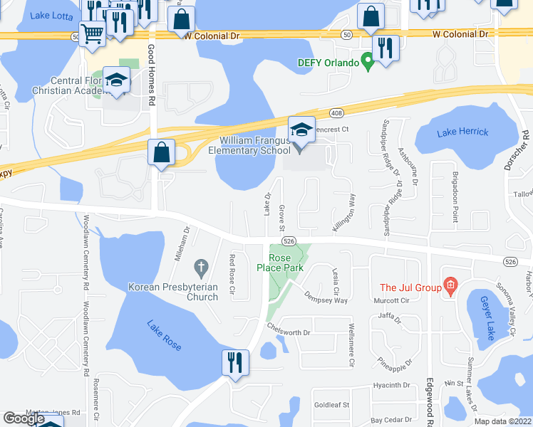 map of restaurants, bars, coffee shops, grocery stores, and more near 143 Lake Drive in Orlando
