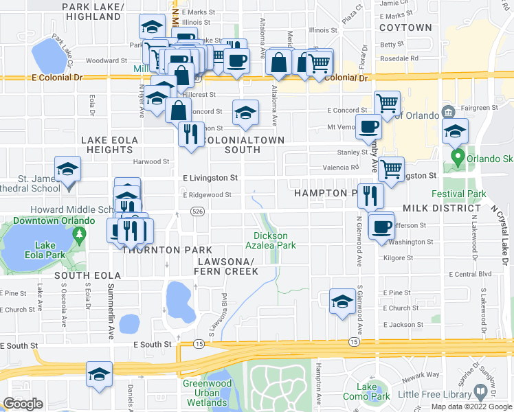 map of restaurants, bars, coffee shops, grocery stores, and more near 1611 East Robinson Street in Orlando