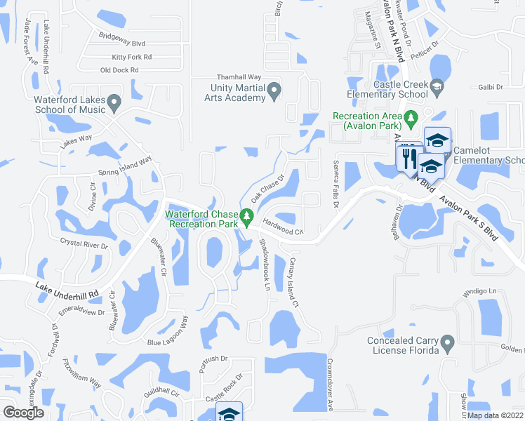 map of restaurants, bars, coffee shops, grocery stores, and more near 553 Hardwood Cir in Orlando