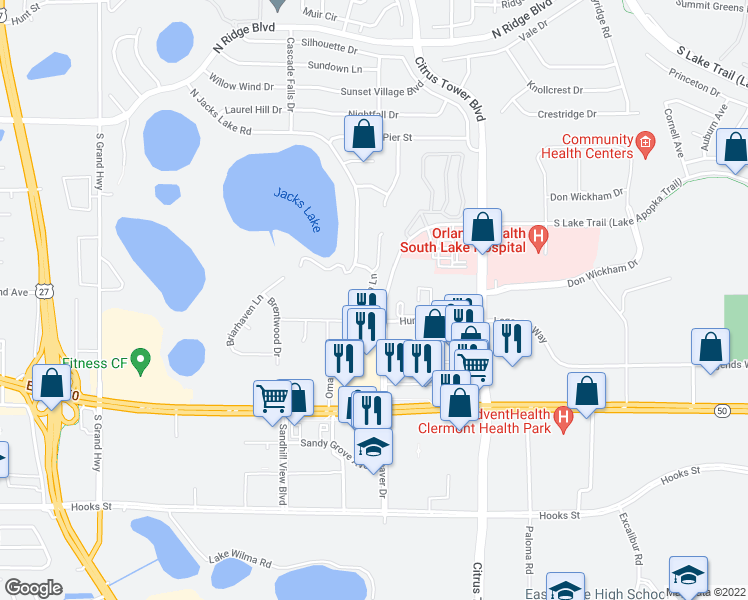 map of restaurants, bars, coffee shops, grocery stores, and more near 1159 Aqua Lane in Clermont
