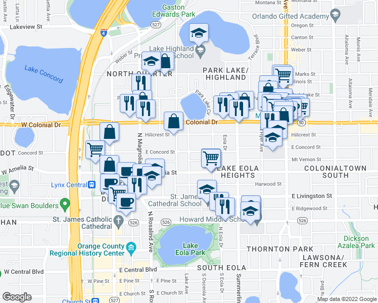 map of restaurants, bars, coffee shops, grocery stores, and more near E Concord St & Broadway Ave in Orlando