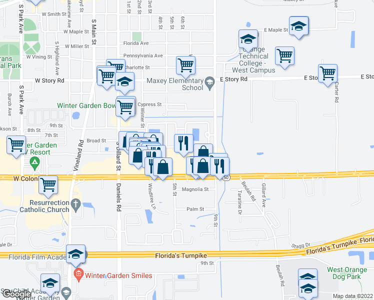 map of restaurants, bars, coffee shops, grocery stores, and more near 13105 West Colonial Drive in Winter Garden