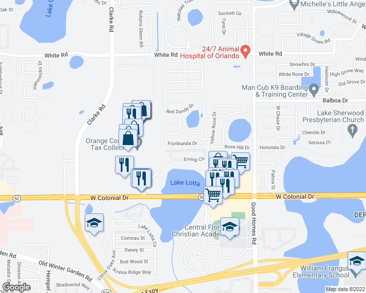 map of restaurants, bars, coffee shops, grocery stores, and more near 2035 Erving Cir in Ocoee