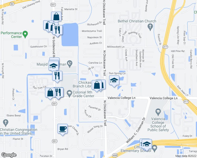 map of restaurants, bars, coffee shops, grocery stores, and more near 949 Crowsnest Circle in Orlando