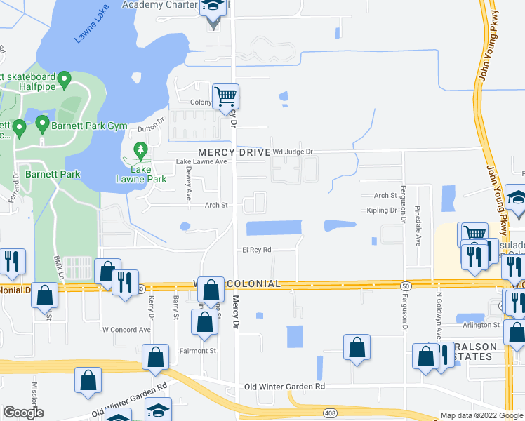 map of restaurants, bars, coffee shops, grocery stores, and more near 1104 Fremont Park Avenue in Orlando