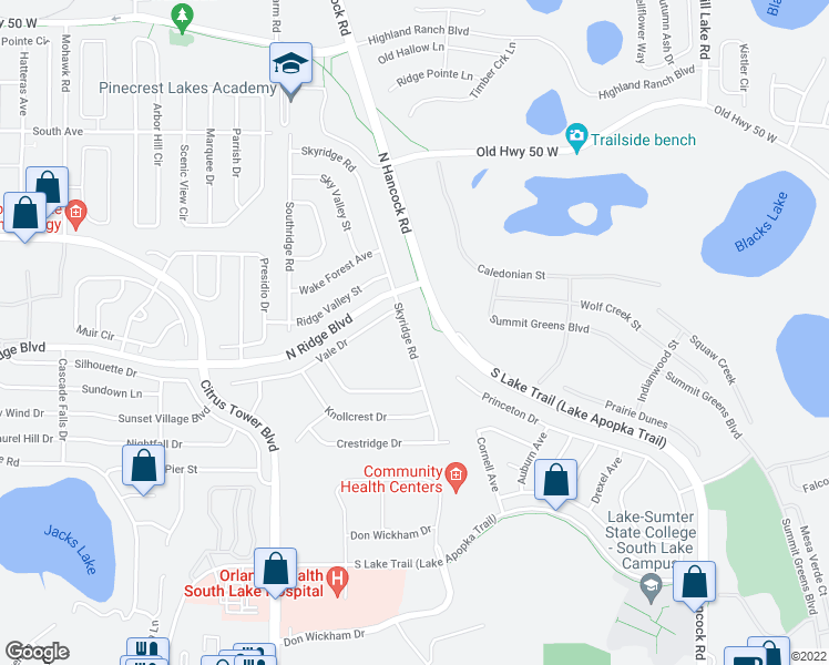 map of restaurants, bars, coffee shops, grocery stores, and more near 770-790 Skyridge Road in Clermont
