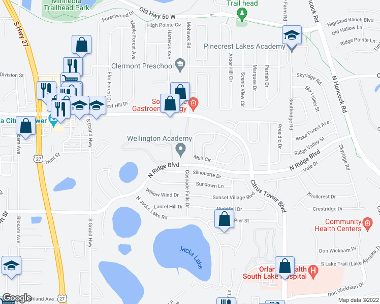map of restaurants, bars, coffee shops, grocery stores, and more near 1380 North Ridge Boulevard in Clermont