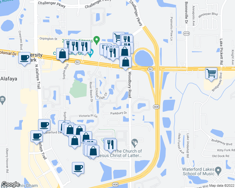 map of restaurants, bars, coffee shops, grocery stores, and more near 1700 Woodbury Road in Orlando
