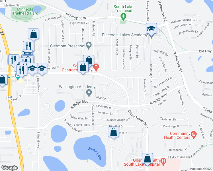 map of restaurants, bars, coffee shops, grocery stores, and more near 153 Sutter Road in Clermont