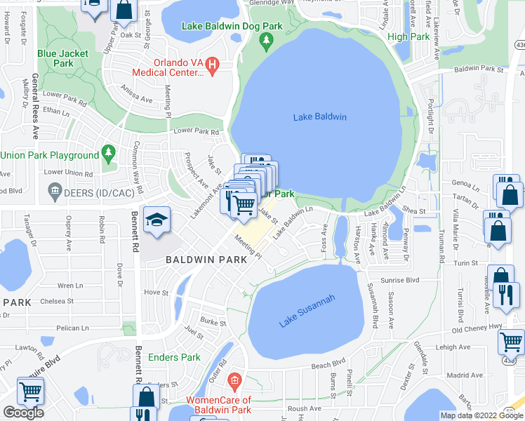 map of restaurants, bars, coffee shops, grocery stores, and more near Jake St in Orlando