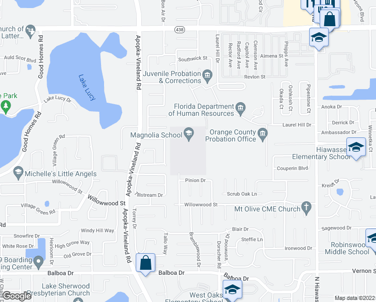 map of restaurants, bars, coffee shops, grocery stores, and more near 1900 Matterhorn Drive in Orlando