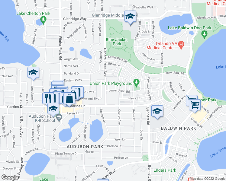 map of restaurants, bars, coffee shops, grocery stores, and more near 3702 Derran Ln in Orlando