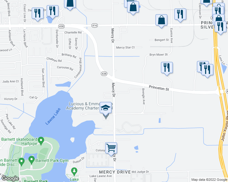 map of restaurants, bars, coffee shops, grocery stores, and more near 2051 Mercy Drive in Orlando