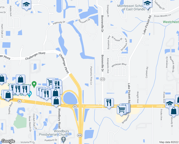 map of restaurants, bars, coffee shops, grocery stores, and more near 1915 Palmetto Pine Lane in Orlando