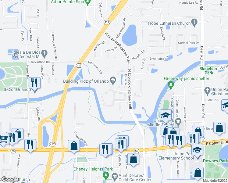 map of restaurants, bars, coffee shops, grocery stores, and more near 9201 Nelson Park Circle in Orlando