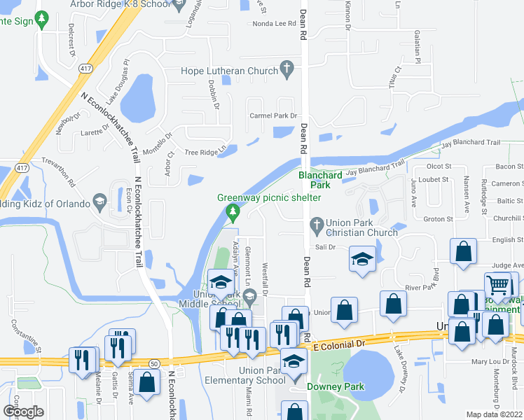 map of restaurants, bars, coffee shops, grocery stores, and more near 9850 Lancewood St in Orlando