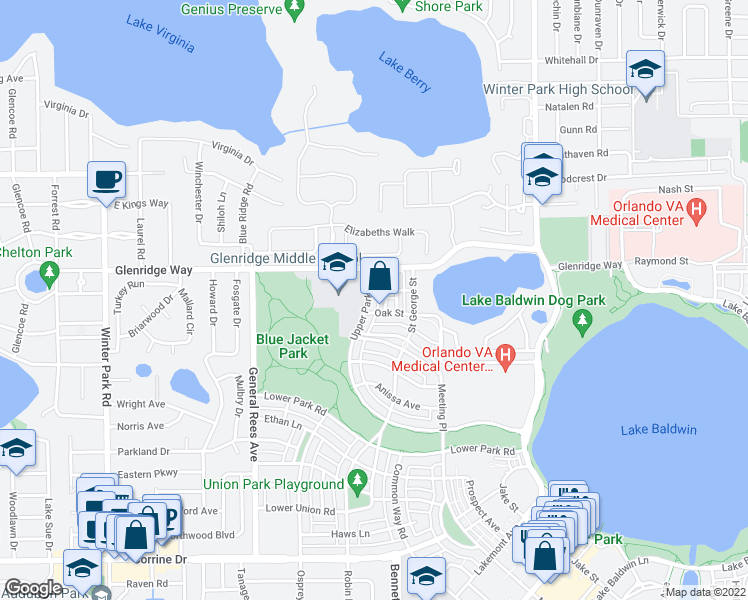 map of restaurants, bars, coffee shops, grocery stores, and more near Bailey Lane in Orlando