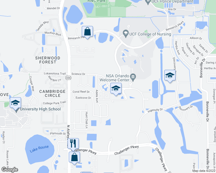 map of restaurants, bars, coffee shops, grocery stores, and more near 2801-2809 Einstein Way in Orlando