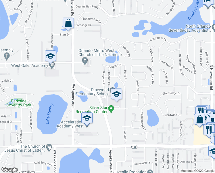 map of restaurants, bars, coffee shops, grocery stores, and more near 3217 Dragoon Place in Orlando
