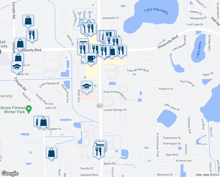 map of restaurants, bars, coffee shops, grocery stores, and more near 7819-7999 Restful Street in Winter Park