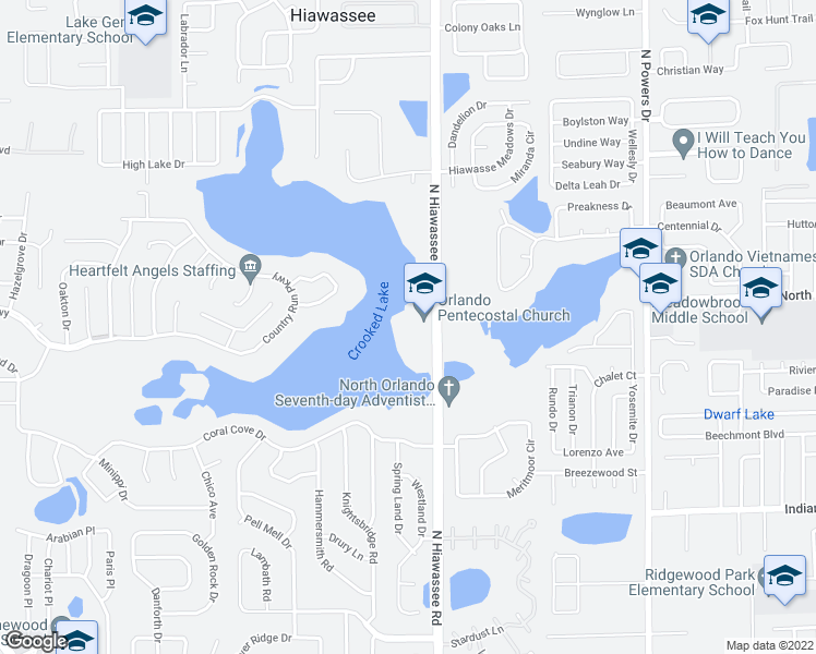 map of restaurants, bars, coffee shops, grocery stores, and more near 4322 North Hiawassee Road in Orlando