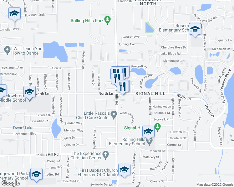map of restaurants, bars, coffee shops, grocery stores, and more near North Pine Hills Road & North Lane in Pine Hills