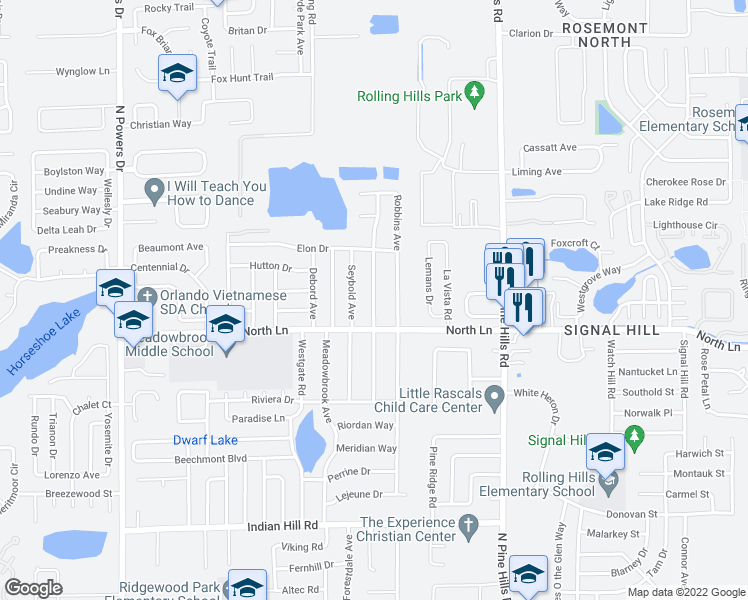 map of restaurants, bars, coffee shops, grocery stores, and more near 4502 Drexel Ave in Orlando