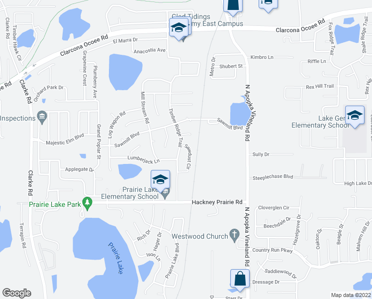 map of restaurants, bars, coffee shops, grocery stores, and more near 5080 Sawdust Circle in Ocoee