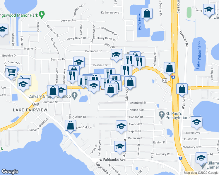 map of restaurants, bars, coffee shops, grocery stores, and more near 1035 Lee Road in Orlando