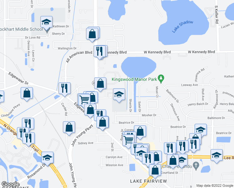map of restaurants, bars, coffee shops, grocery stores, and more near Lake Weston Drive in Orlando