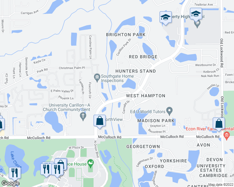 map of restaurants, bars, coffee shops, grocery stores, and more near 3575 Alcove Court in Oviedo