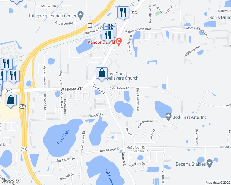 map of restaurants, bars, coffee shops, grocery stores, and more near 5451 County Fair Ct in Oviedo