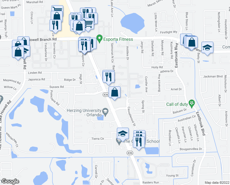 map of restaurants, bars, coffee shops, grocery stores, and more near 1780 Florida 436 in Winter Park