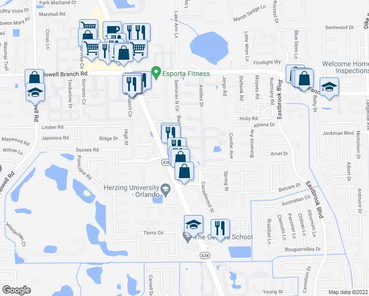 map of restaurants, bars, coffee shops, grocery stores, and more near 2390 Dominica Run in Winter Park