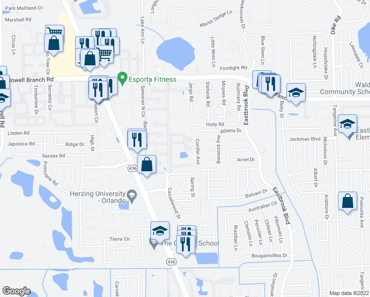 map of restaurants, bars, coffee shops, grocery stores, and more near 2015 New Stonecastle Terrace in Winter Park