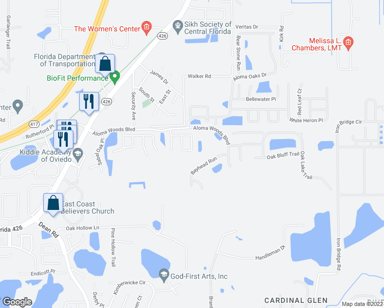 map of restaurants, bars, coffee shops, grocery stores, and more near 5690 Magnolia Bloom Terrace in Oviedo