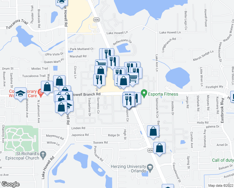 map of restaurants, bars, coffee shops, grocery stores, and more near 2209 Sorrento Circle in Winter Park
