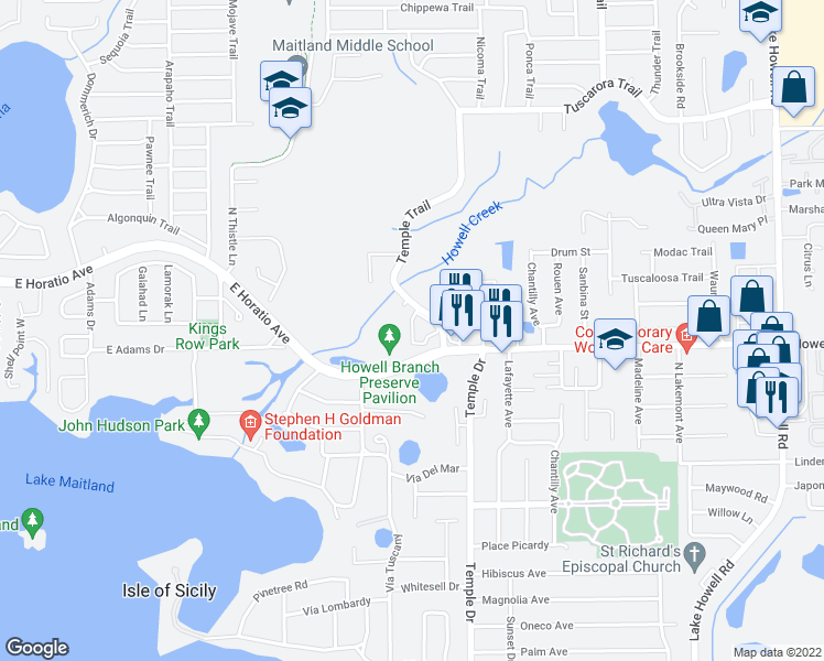map of restaurants, bars, coffee shops, grocery stores, and more near 295 Sandlewood Trail in Winter Park