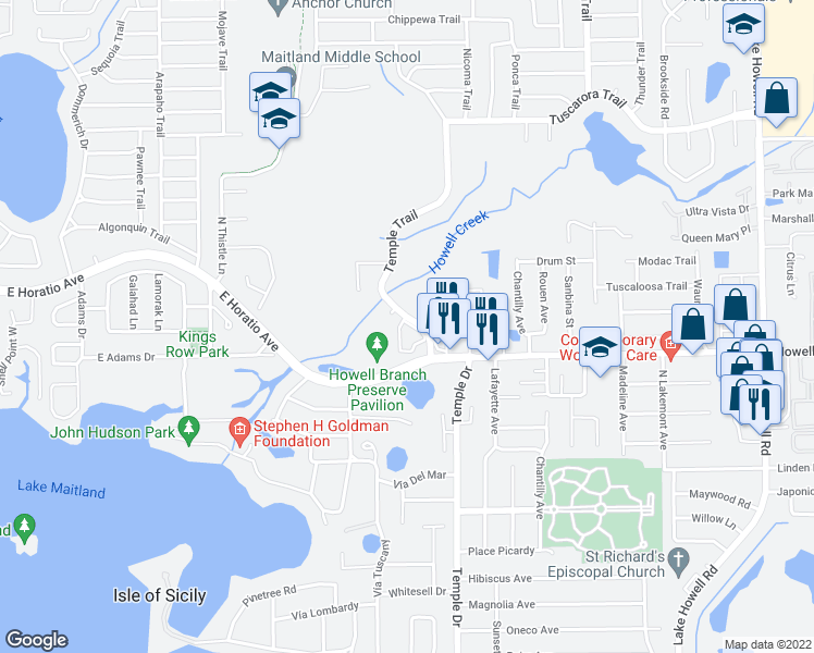 map of restaurants, bars, coffee shops, grocery stores, and more near 2430-2912 Temple Trail in Winter Park