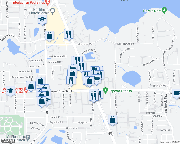 map of restaurants, bars, coffee shops, grocery stores, and more near 1432 Semoran Boulevard in Casselberry