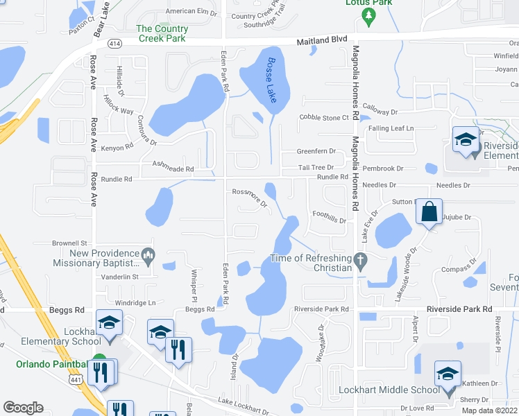 map of restaurants, bars, coffee shops, grocery stores, and more near 4540 Eden Woods Circle in Orlando