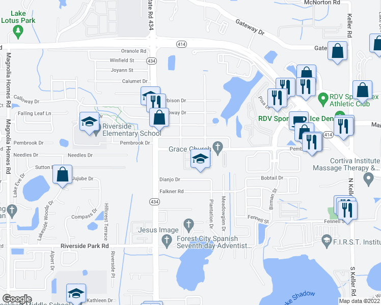 map of restaurants, bars, coffee shops, grocery stores, and more near Woodfield Street in Orlando