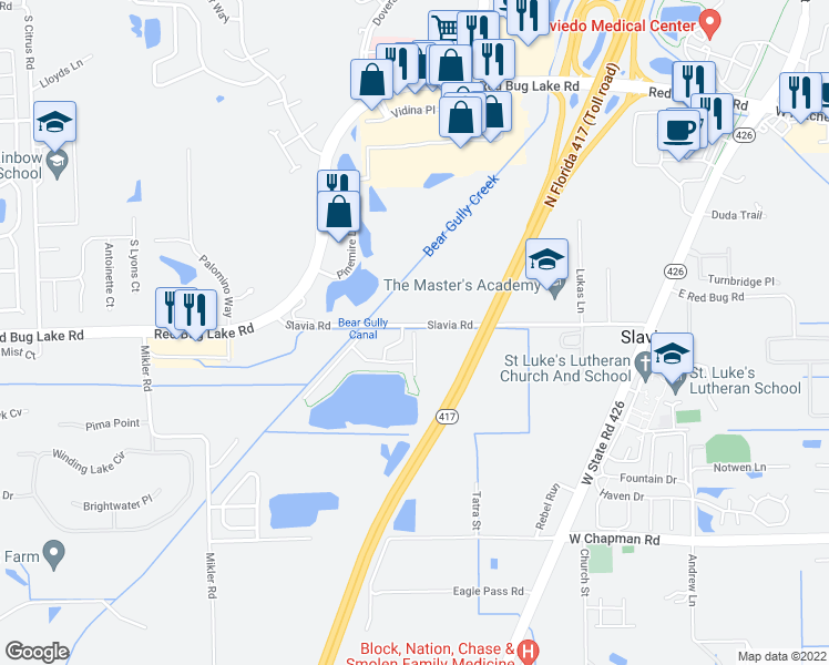 map of restaurants, bars, coffee shops, grocery stores, and more near 7535-7585 Slavia Road in Oviedo