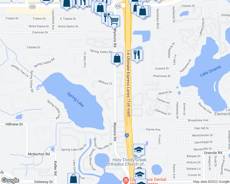 map of restaurants, bars, coffee shops, grocery stores, and more near Wymore Rd in Altamonte Springs