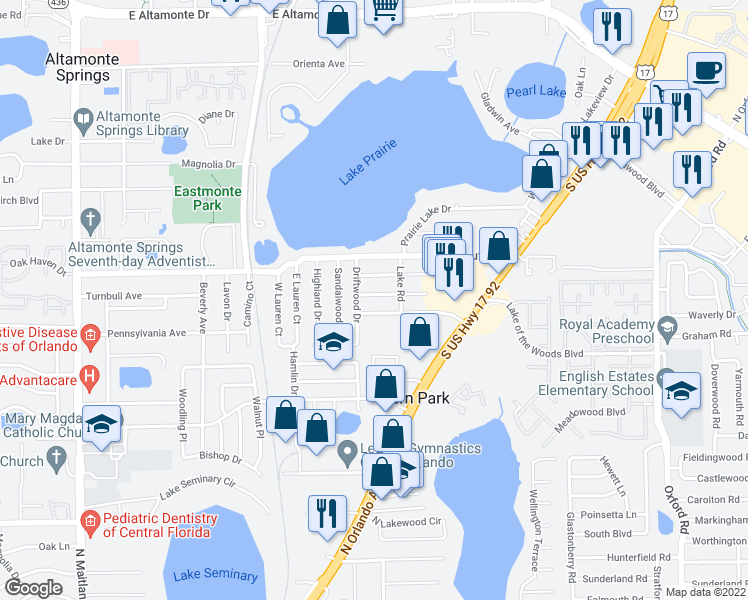 map of restaurants, bars, coffee shops, grocery stores, and more near 308 Pinewood Ct in Fern Park