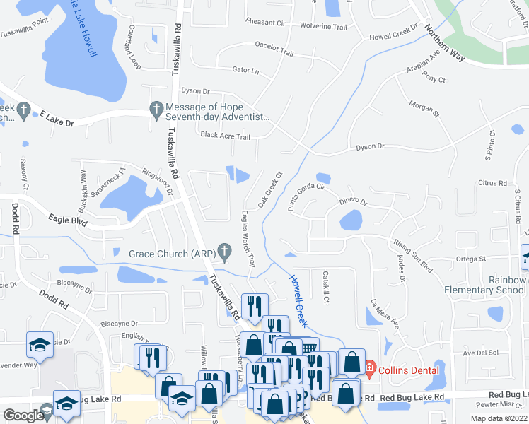 map of restaurants, bars, coffee shops, grocery stores, and more near 1159 Oak Creek Court in Winter Springs